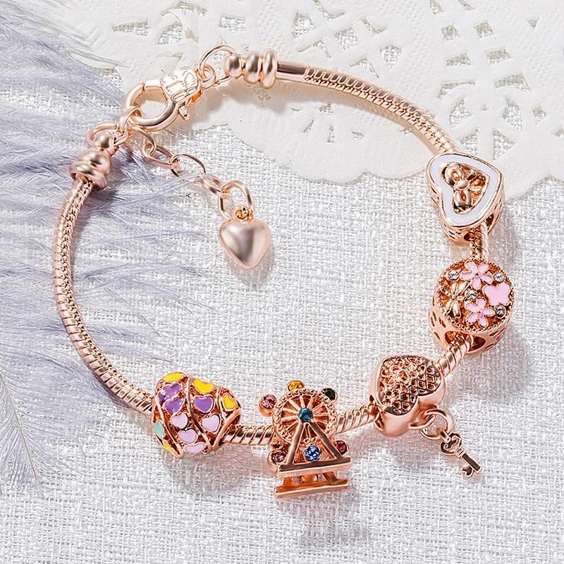 Rose Gold Rainbow Peach Heart Beads Diy Bracelet Female Love Hollow Bead Key Pendant Pandora Charm Bracelet February 14 Gift Strand Bracelets Aliexpress