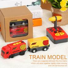 Kid Electric Remote Control Train Toy Magnetic Train Model Locomotive Plaything For Thomas Wooden Track Toys For Children(China)