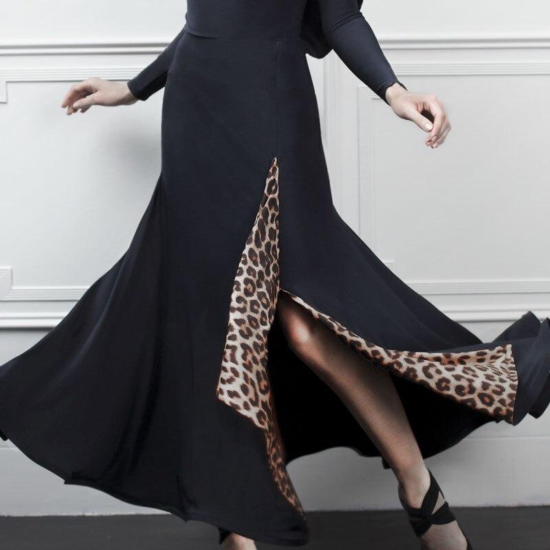 Women'S Ballroom Dance Long Skirt Practice Clothes Sexy Split Leopard Big Swing Skirt Waltz Tango Stage Performance Wear DL5035