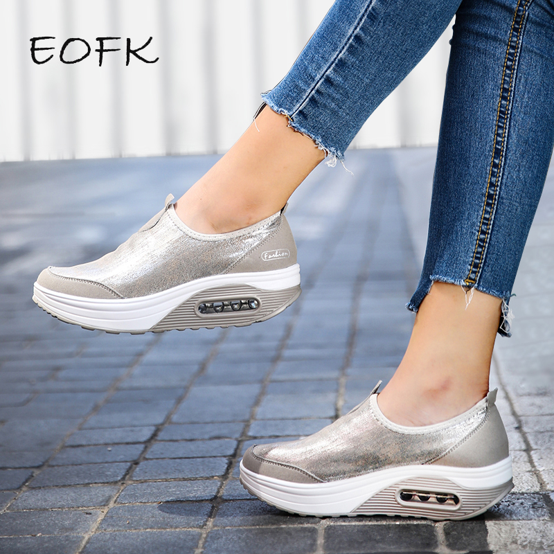EOFK Women Flat Platform Shoes Woman Loafers Casual Women's Slip On Shallow Swing Moccasin Ballet Female Flats Zapatos De Mujer
