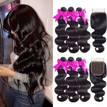 FABC волосы бразильские волосы, волнистые пряди с закрытием, предварительно выщипанные волнистые человеческие волосы, средний коэффициент, не Реми волосы, натуральный черный