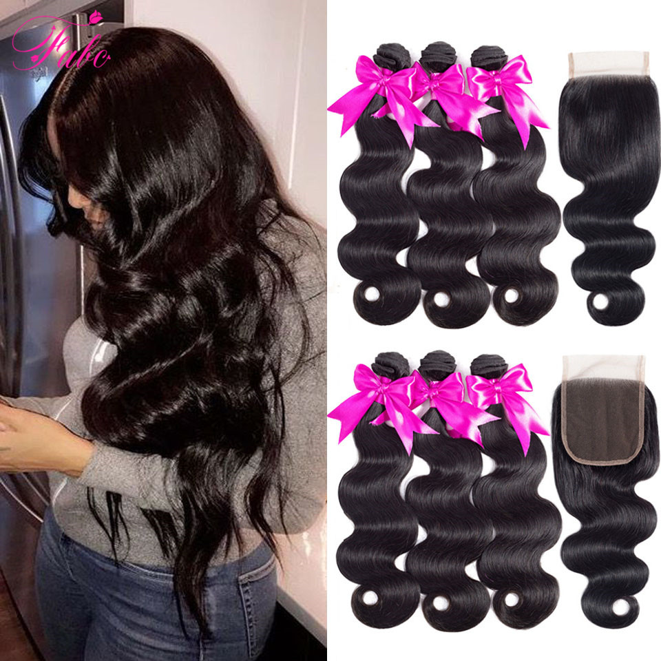 FABC Hair Brazilian Hair Weave Bundles With Closure Pre Plucked Body Wave Human Hair Middle Ratio Non-remy Hair Natural Black