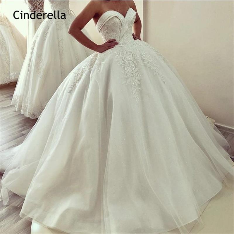 Cinderella Luxury Crystal Beading Sweetheart Lace Up Back Lace Applique Princess Ball Gown Wedding Dresses Vestido De Noiva