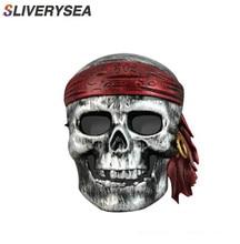 SLIVERYSEA 13CM * 12CM Auto Styling Stijlvolle Pirate Skull PVC Vinyl Auto Stickers en Stickers