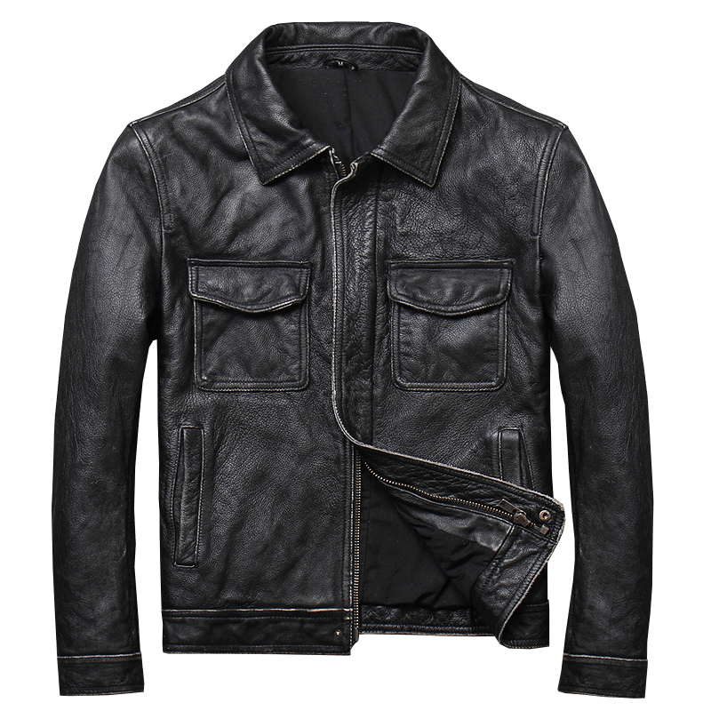 Free Shipping.safari Mens Clothes,soft Casual Vintage Leather Jacket,man Genuine Leather Jacket.homme Slim,young Simple