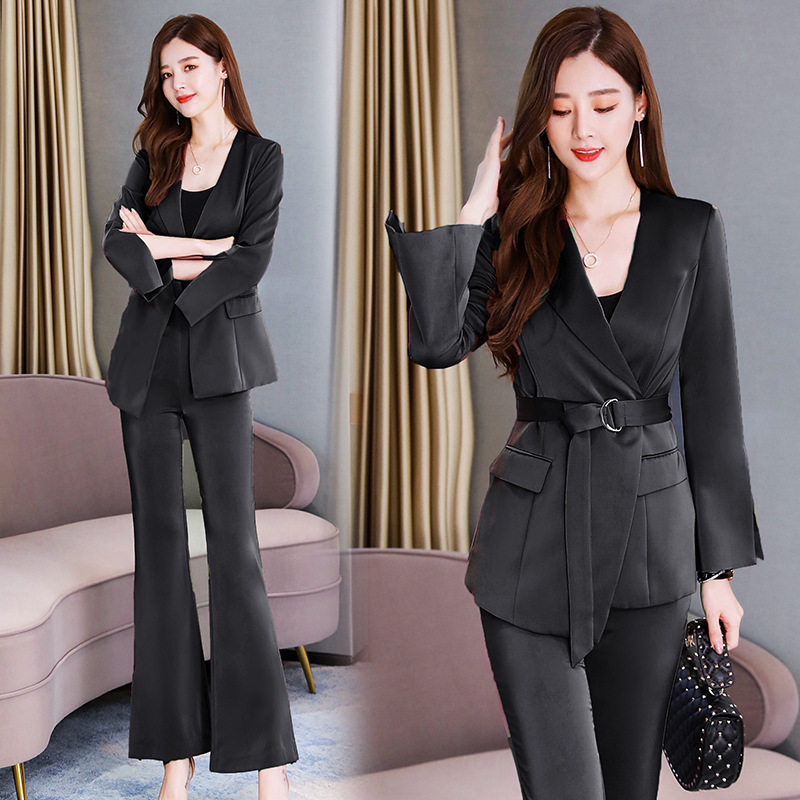 Temperament professional women's suit Autumn new slim waist long sleeve ladies jacket Office casual trouser suit high quality 35
