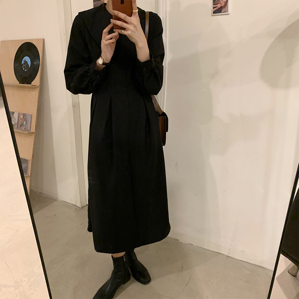 Hb3d7ca9203dc4925a249392138f19614E - Autumn Big Lapel Collar Long Lantern Sleeves Solid Loose Midi Dress