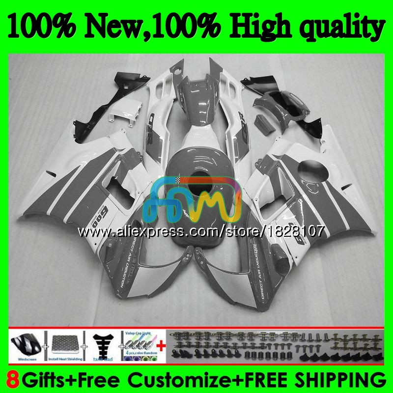 Carenature + Serbatoio per Honda Cbr 600CC 600F3 Cbr 600 Fs Caldo Grigio Bianco 95 96 1995 1996 3BS. 20 CBR600 F3 CBR600F3 97 98 1997 1998 Kit