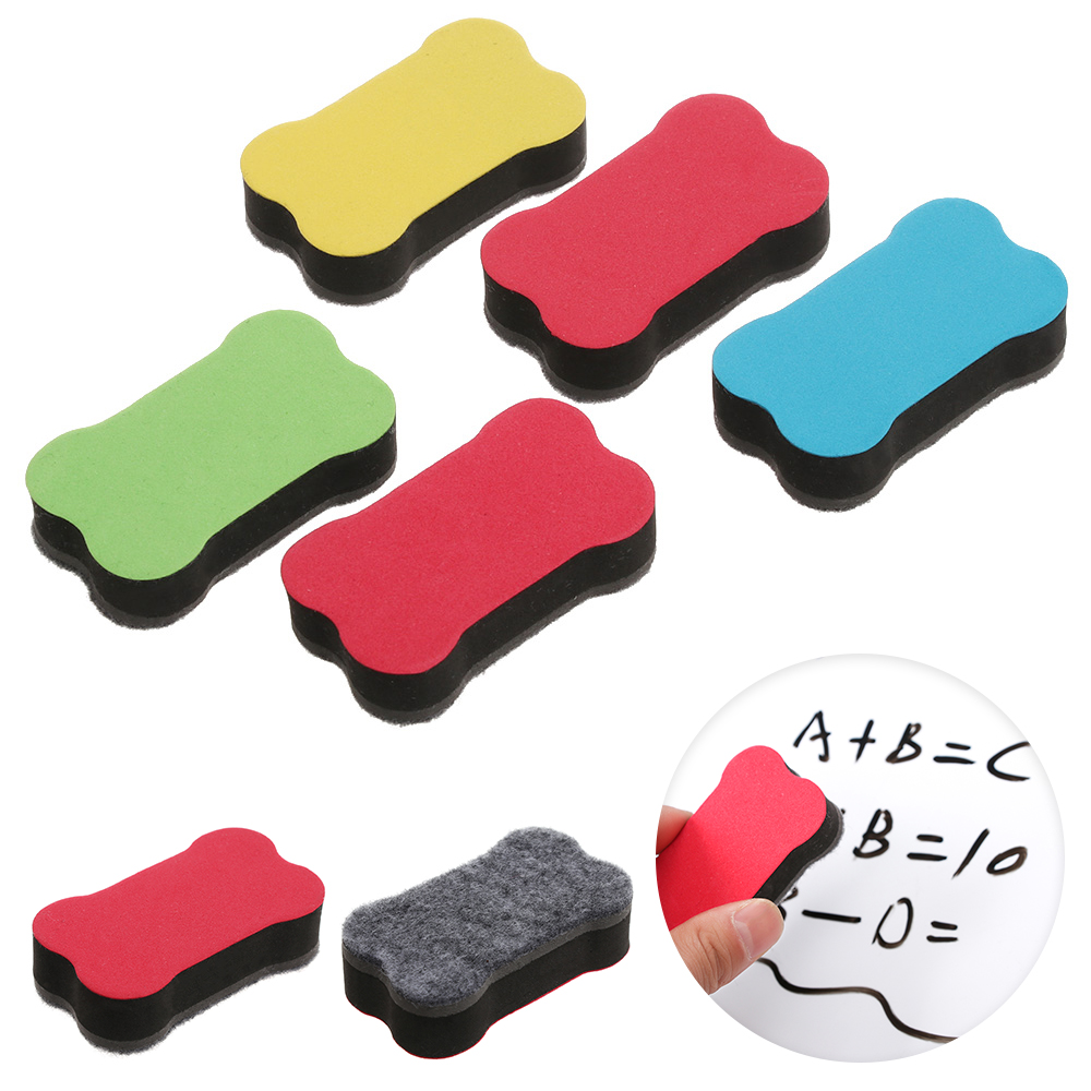 5 Pcs Cartoon Bone Blackboard Eraser Magnetic White Board Erasers School Office Suppies Whiteboard Marker Cleaner Tool