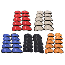 10Pcs New Meshy Golf Iron Covers Set 3 ,4, 5, 6, 7, 8,9 ,S ,A ,P  protection