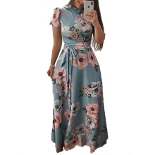 New Arrival Maxi Dress Women Boho Style Flower Print Ladies Holiday Long/Short  Sleeve Dresses Super Quality Vestidos