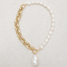 Asymmetric design short necklace gold color chain natural pearl creative stitching necklace 2020 wom