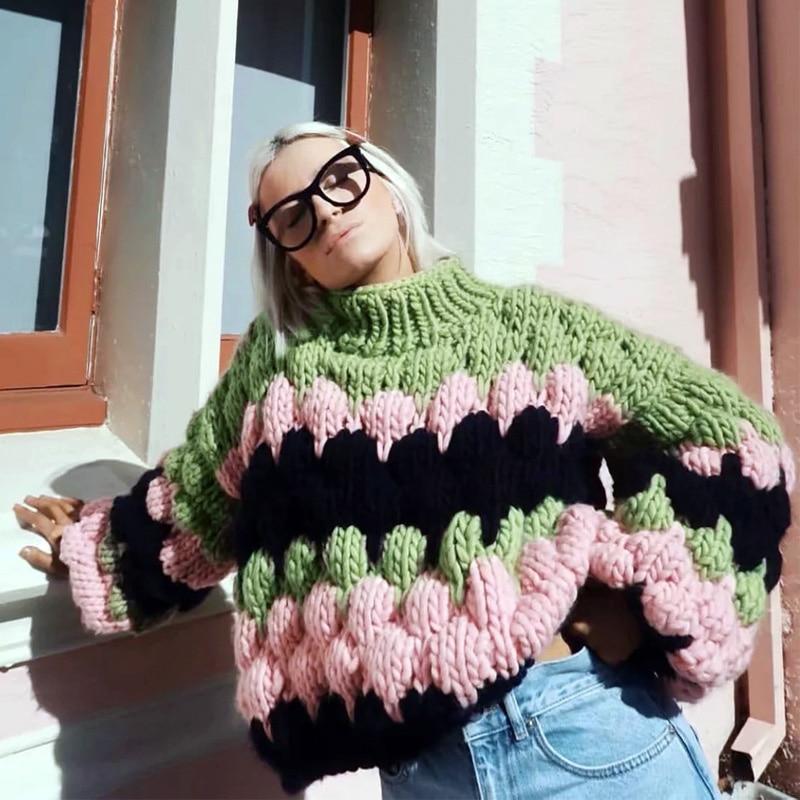 KHALEE YOSE épais chaud chandails hiver 2019 Multi couleur bohème pulls femmes surdimensionné lanterne manches col rond pull pull