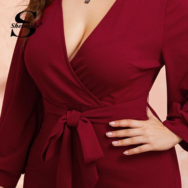 Sheinside Plus Size Deep V Neck Pencil Dress Women 2019 Autumn Lantern Sleeve Solid Midi Dresses Ladies Burgundy Belted Dress 3
