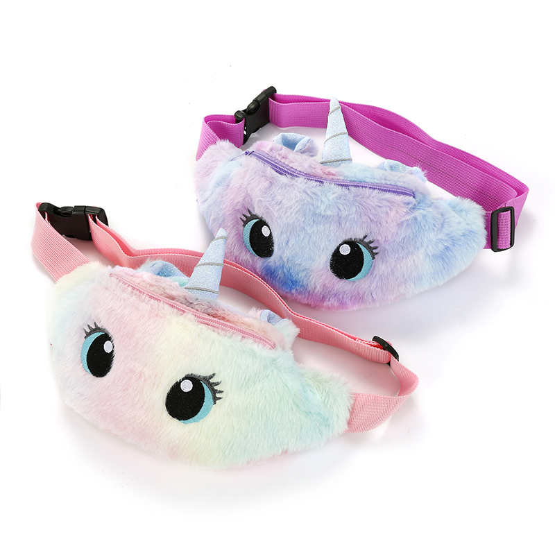 Student Cartoon Fur Fanny Pack Women Winter Embroidery Chest Pack Girl Unicorn Shoulder Bag Color Large Capacity Belt Bag Pocket