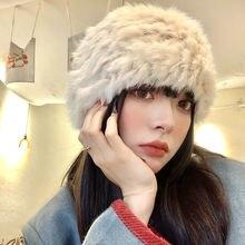 Меховые шапки для женщин зимняя шапка ушанка; Кроличий мех;