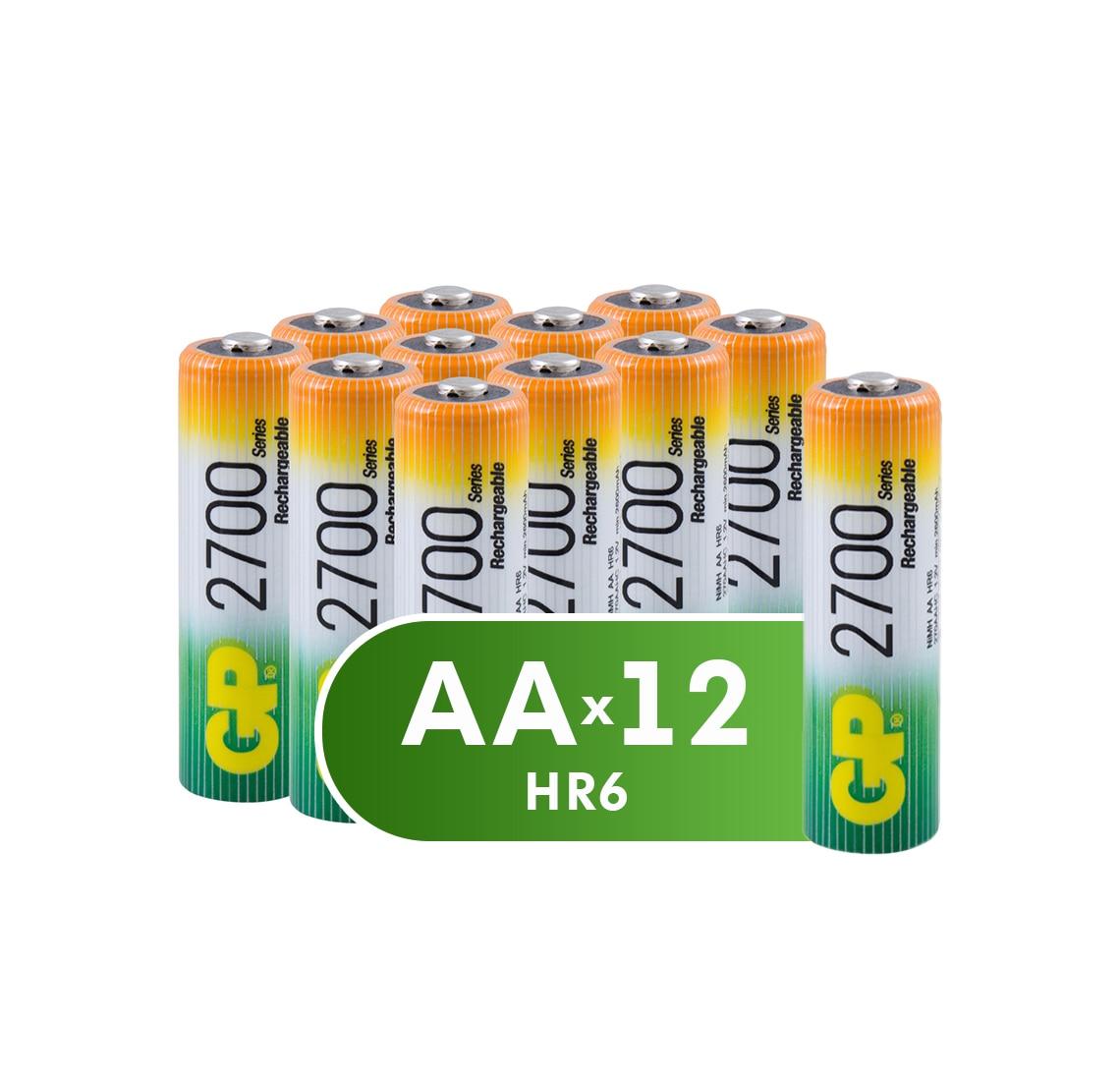 Аккумуляторная батарейка GP АА (HR6) 2700 мАч, 12 шт, для питаниея приборов и устройств с высоким энергопотреблением, 1.2 V