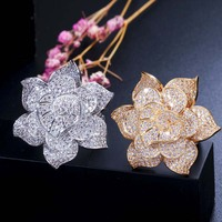 MECHOSEN Luxury Flower Engagement Wedding Flower Ring Women's Bride Cubic Zircon Dubai Accessories Rings Gold Color Jewelry 2019