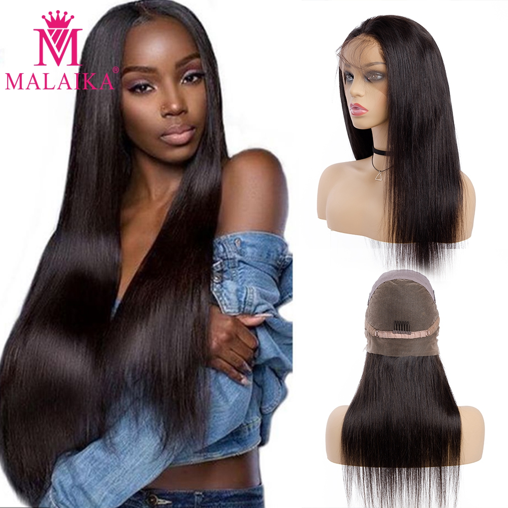 MALAIKA Straight Full Lace Human Hair Wigs Women Baby Hair Light Straight Full Lace Wig Peruvian Hair Bleached Knots