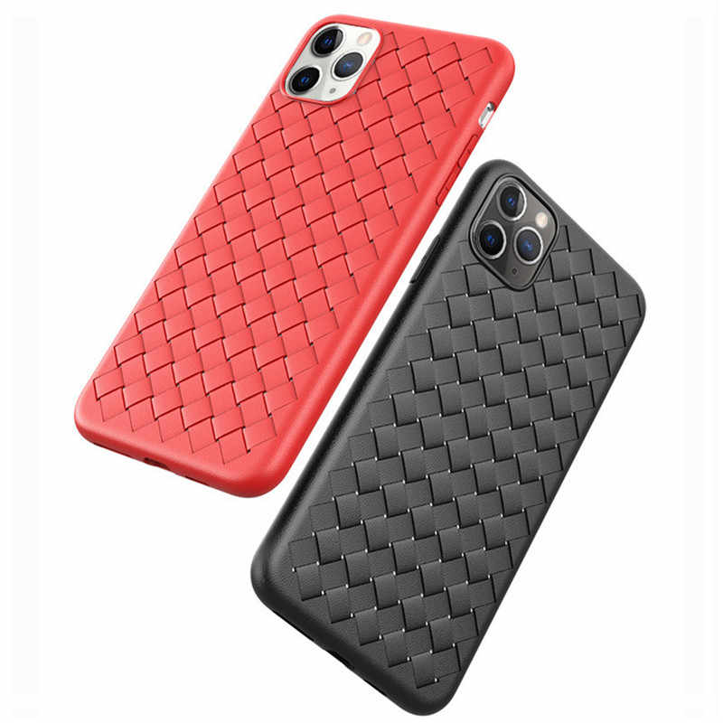 heat dissipation Phone Case For iphone 11 Pro max Xs max Xr X 6 7 8 plus Ultra Thin Soft TPU Case woven Grid Leather Cover Coque