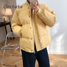 Fashion Casual Yellow Short Women Parka Coat Solid Color Zippers Pockets Outwear Warm Winter Jacket Women Parka Mujer 2020 retro women s satchel with solid color and zippers design