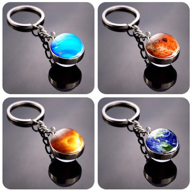 Double Side Universe Space Galaxy Mercury Mars Earth Glass Ball Keychains 3D Solar System Jupiter Venus Planets Keyrings