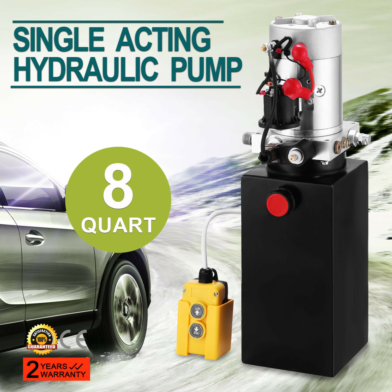 20 Quart Single Acting Hydraulic Pump Dump Trailer 12V Reservoir Unloading