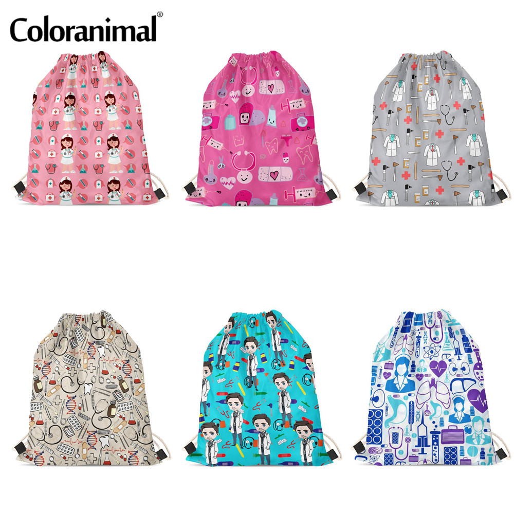 Coloranimal Doctor Nurse Pattern Custom Logo Drawstring Bag Mochila Hip Hop Fans Fashion Soft Travel Women Bag Girls Backpack