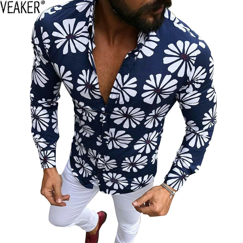 2020 New Men's Slim Fit Floral Printed Shirts Male Long Sleeve Pink Green Summer Flower Shirt Casual Beach Shirts M-3XL