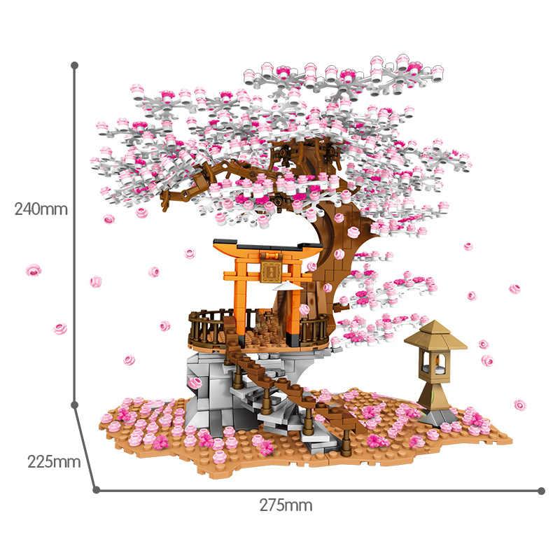 SEMBO Street View Idee Schrein Ziegel Sakura Stall Ziegel City Freunde Kirschblüte Landschaft Haus Baum Baustein Spielzeug