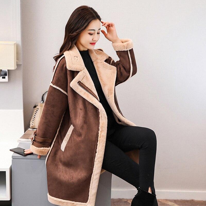 Winter Long   Suede     Leather   Jacket Women Plus Size Female Brown Faux Fur Lined   Suede   Jacket Woman Coat Large Ladies Windbreaker