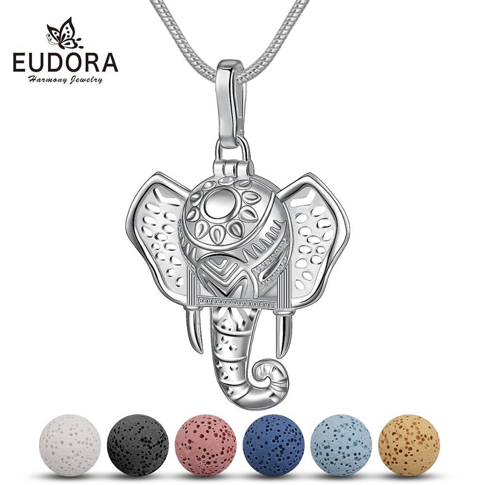 Großer versilberter Elefant mit 6 Lava-Kugeln als Diffusor   Aromatherapie Aromatherapie Schmuck Krafttier