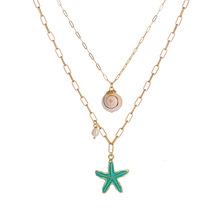Multi-layer necklace fashionable pearl shell starfish conch pendant personality sea wind series accessories
