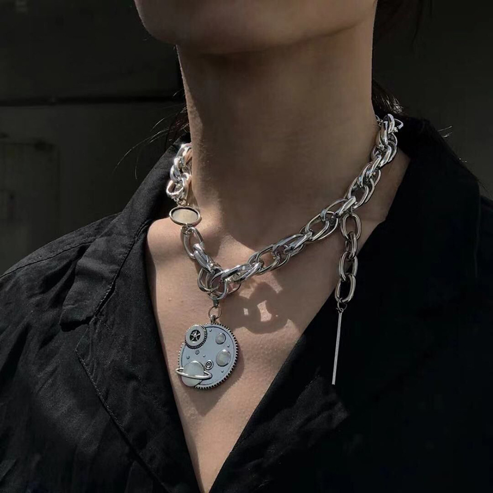 KMVEXO Punk Hip Hop Unisex Earth Pendant Necklaces for Women Mens 2019 Fashion Big Metal Chains Street Jewelry Necklace Gifts(China)