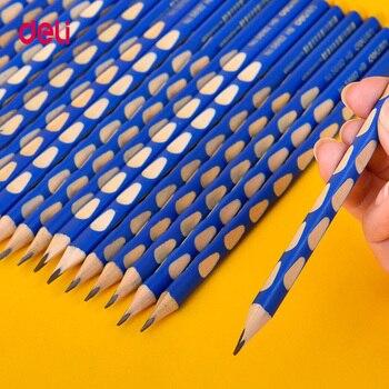 Deli 12pcst/set Writing pencil 2B HB triangle wood correct childrens writing skills school supplies