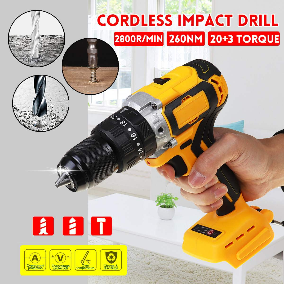 3 in 1 Electric Cordless Brushless Impact Drill 2 Speed 13mm 2800rpm Electric Screwdriver Hammer for 18V Makita Battery|Electric Drills|   - AliExpress