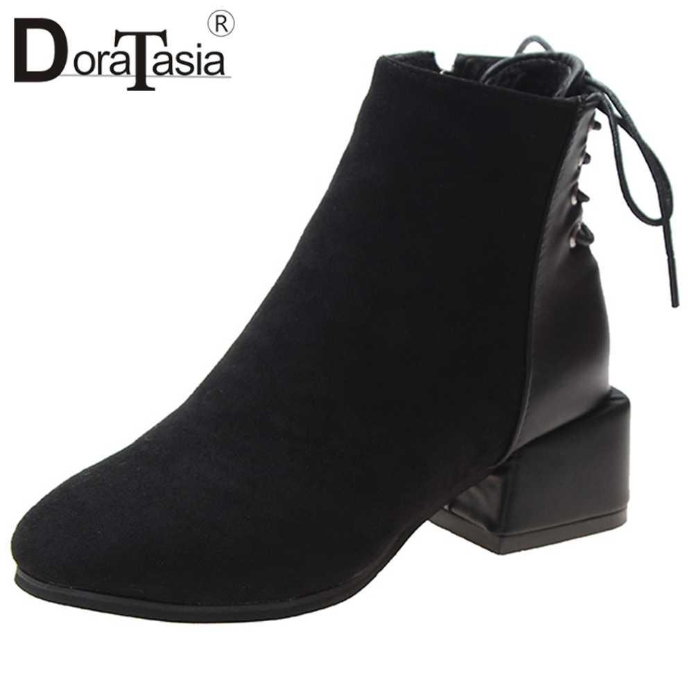DORATASIA สุภาพสตรี Elegant Patchwork รองเท้าแฟชั่น Retro MED ส้นรองเท้าผู้หญิงหลังลูกไม้ตกแต่งข้อเท้ารองเท้าผู้หญิง