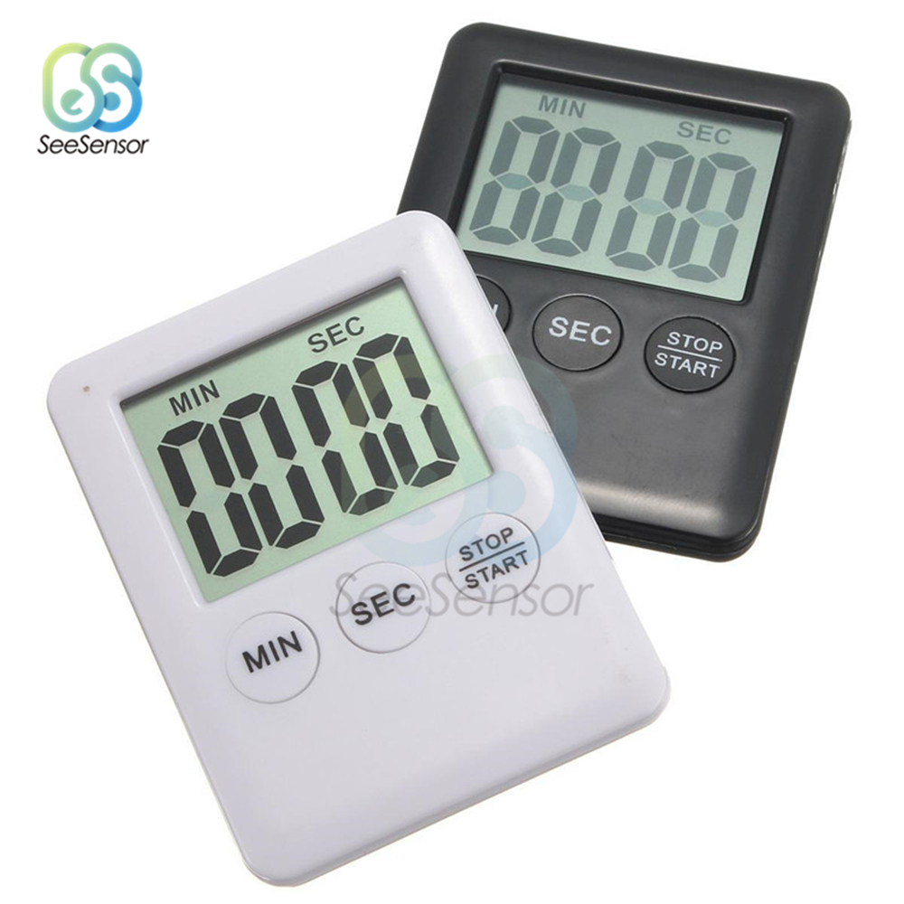 Super Thin LCD Digital Screen Kitchen Timer Square Cooking Count Up Countdown Alarm Magnet Clock Stopwatch 5 Colors