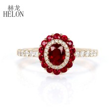 HELON Rings For Women Solid 18K Rose Gold Natural 0.98Ct Ruby Genuine Diamonds Party Anniversary Ring Bands Fine Jewelry gift(China)