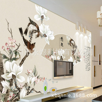 Fine Brushwork Flowers and Birds Fan-shaped Painting ''Large Mural Wallpaper Wallpaper/Seamless Wall Mural'' Shenzhen