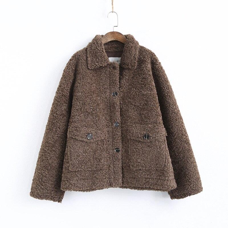 Chaquetas de lana de cordero grueso coreano ropa de mujer chaqueta de invierno Vintage de talla grande abrigo femenino chaquetas de mujer tapas Ll006 - 2