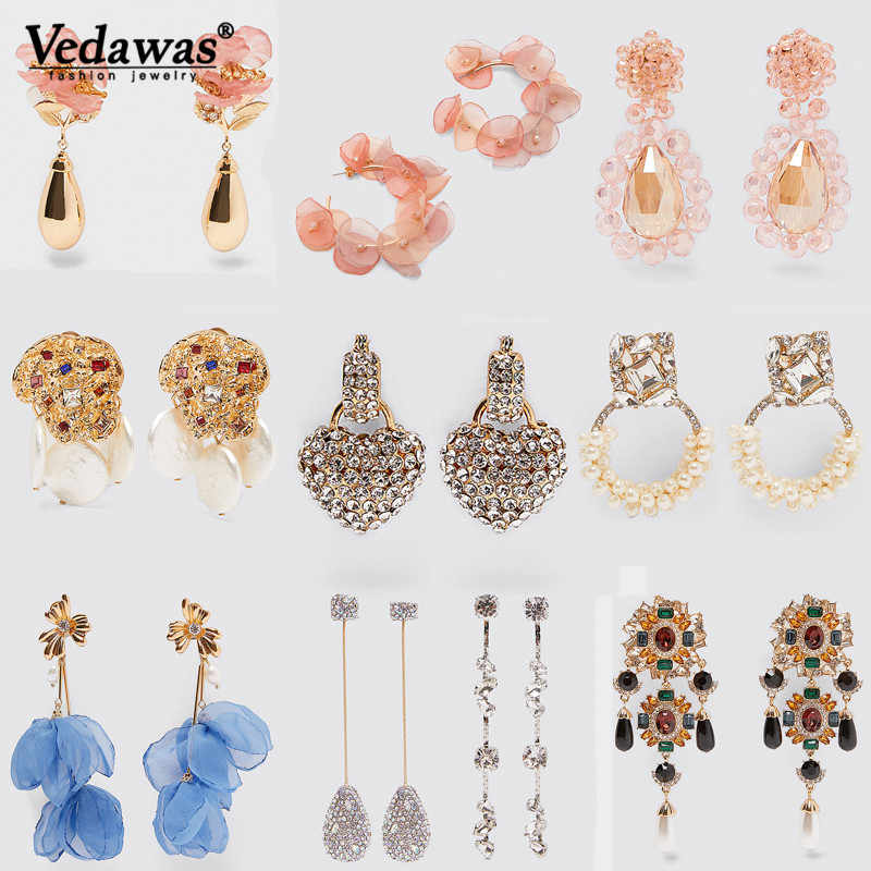 Vedawas ZA 2019 Trendy Design Heart Crystal Drop Earrings Women Bridal Party Gift Jewelry Rhinestone Tassel Long Dangle Earring