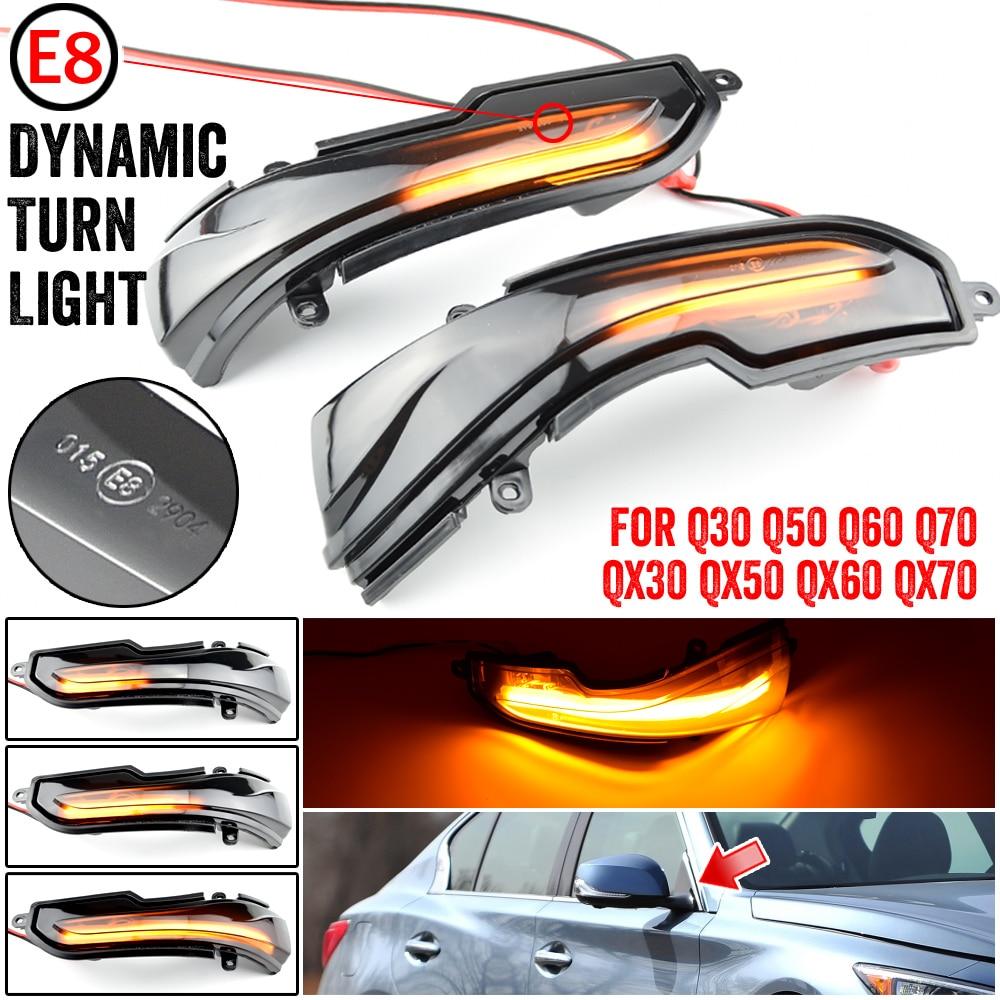Turn Signal Indicator Light Side Mirror Dynamic Blinker for In-finiti Q30 Q50 Q60 Q70 QX50 QX60 QX70 Skyline