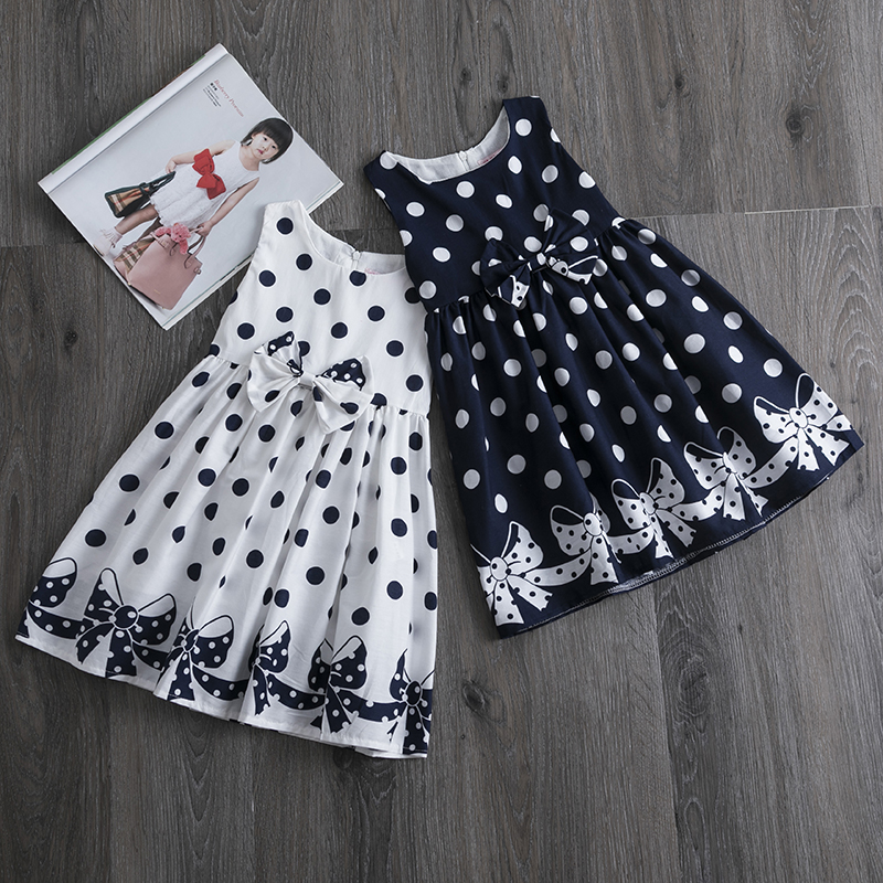 Casual Polkadot Dresses For Girls Bow Birthday Party Dress Kids Clothing Sundress Baby Girl Clothes 4 5 6 7 8 9 10 11 12 Years