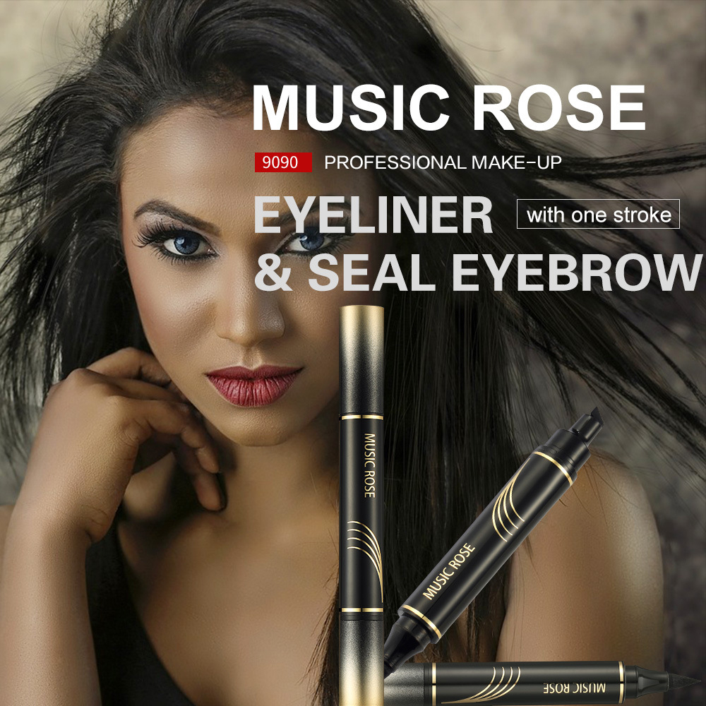 Music rose New Makeup Black Eye Liner Liquid Pencil Quick Dry Waterproof Double-ended Stamps Wing Eyeliner