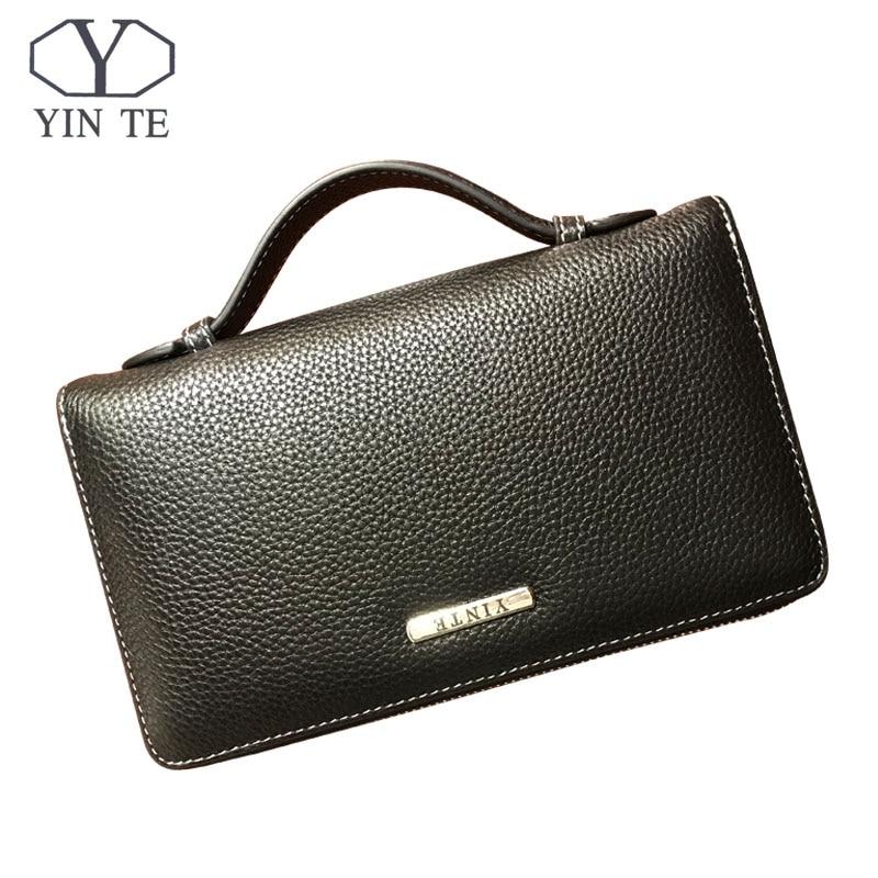 YINTE hommes pochette en cuir sac à main organisateur chéquier portefeuille affaires porte-sac portefeuille TD025-2