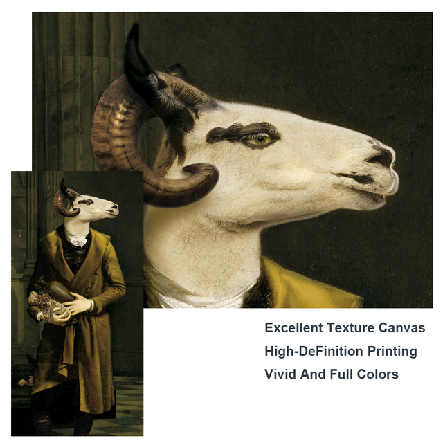 Countess of Goats Fun Classical Paintings Printed on Canvas 4