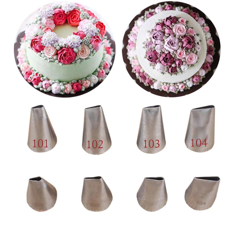 4pcs #101 #102 #103 #104  Rose Petal Shape Icing Piping Nozzles For Decoraing Cakes Cupcake Pastry Tips Banking Pastry Tools