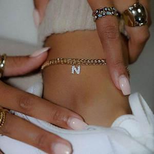 Letter Anklets Jewelry Bracelet Boho Alphabet Cuban Stainless-Steel Gold Initial Women