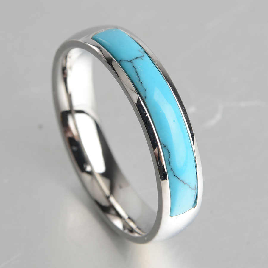 Keisha Lena New Personalized  Jewelry Vintage Antique Silver Turquoises Ring for Men Tibet Titanium steel Finger Ring